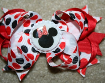 Disney Minnie Mouse - Custom Boutique Bottle Cap Hair Bow Clip - white, black, and red polka dots