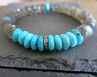 Pave Diamond Labradorite turquoise bracelet, Labradorite with diamonds turquoise layering, coachella bohemian yoga jewelry, beachy, stretchy