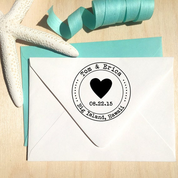 Heart Custom Stamp with date for Save the Dates & Wedding Invitations with a typewriter font