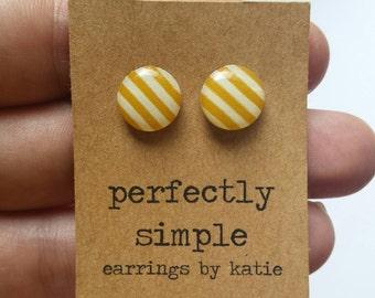 Yellow ochre & white stripes (hand drawn)  stud earrings