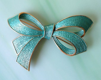 Enamel Bow Brooch