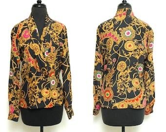 Vintage 80s SILKY blouse // Dana Buchman GOLD baroque print top // medium long sleeve wrapped colorful shirt