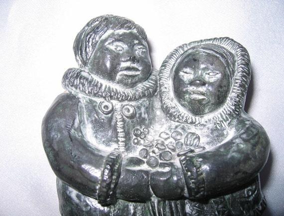 Eskimo inuit figurine wolf original sculpture handmade in