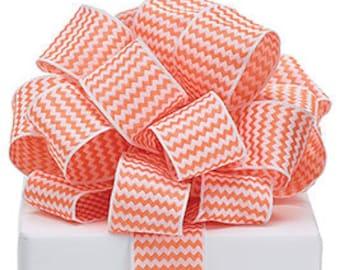 "Orange & White Chevron Stripe  Wired Edge Ribbon 1 1/2"" 3 yards, fall, halloween party, DIY supply, wreath, bow"