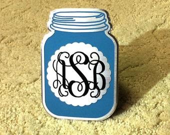 Mason jar hitch cover with monogram