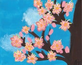 Spring Flowers cherry blossoms   handpainted acrylic 8x10 canvas