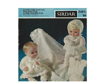 Vintage - Baby Doll Clothes 14 and 16 inch knitting pattern - Sirdar 2461B