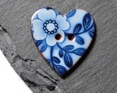 Ceramic Button Heart Shaped With Blue Floral Pattern 26mm Wide
