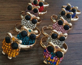 5pcs 16x12mm  Mixed color Owl ring pendant charm