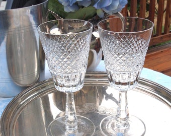 Vintage Irish Crystal Goblets Wine Glasses Galway Hand Cut Fine Lead Crystal Set of 2 Wedding Toasting Glasses -Made in Ireland