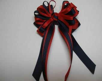 4 inch Red n Navy Hair Bow Back to School UNIFORM Boutique Streamers Tails Toddler Girl Grosgrain Handmade