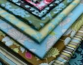 SALE Amy Butler Belle Fabric/ Cotton Fat Quarter Bundle/Coriander, Chrysanthemum, French Wallpaper, Acanthus, Oxford Stripe, 10 Fat Quarters