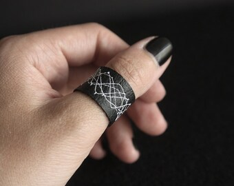 Handmade Faux Leather Ring, Black with white abstract pattern