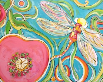 HAPPY ART! Pop Art Original. The Dragonfly and the Poppy - 24x36 Inch Original Acrylic on Canvas