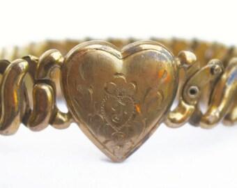 Vintage Sweetheart Bracelet, Expansion Bracelet, WWII Jewelry, Circa 1940s