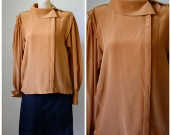 Vintage Escada Pumpkin Silk Blouse / 1970s Exec Blouse / Vtg 70s Office Blouse / 1970s Silk Blouse / Womens Spice Blouse  M/L