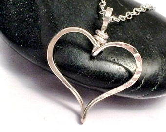 Sterling Silver Heart Necklace | Hammered Silver Heart Pendant | Heart Jewellery | Layering Necklace | Gifts for Her | Silver Jewellery UK