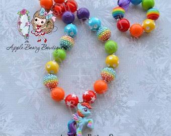 Rainbow Dash Necklace My Little Pony Chunky Necklace  Rainbowfied Necklace MLP Bubblegum Necklace Girl Bubble Gum Bracelet set
