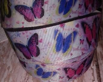 """7/8"""" Butterflies Grosgrain Ribbon"""