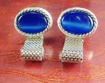 Blue wedding cuff links MOONGLOW Elegance Vintage Cufflinks Silver Mesh Wrap Jewelry hipster tuxedo jewellery groomsman gift