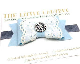 M2M Made to Match Well Dressed Wolf Blue Rosie Felt Bow with Eyelet Lace Headband or Clip