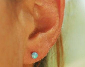 Opal earrings, bridesmaid gift, bridesmaid jewelry, gold stud earrings, silver opal studs, blue opal earrings, everyday earrings, minimalist
