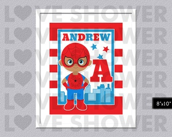 Superhero Boy Poster - Custom Name Wall Art Children - Kids Wall Art - Personalized - Nursery Room - Digital Printable - PDF - 032