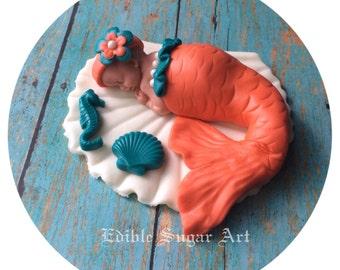 MERMAID BABY SHOWER Cake Topper Fondant baby  nautical boat Tutu Cake Topper Fondant Cake Topper baby girl