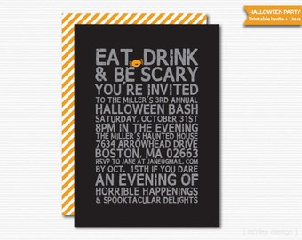 Digital Halloween Invitation Halloween Party Typography Printable Modern Text Halloween Bash Eat Drink Be Scary Black Halloween Invite