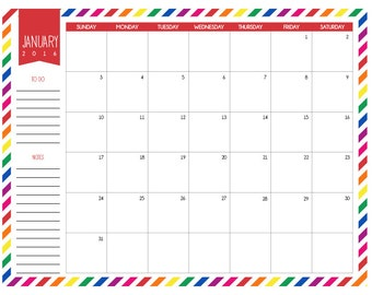Printable Calendar 2016 Monthy School Planner Rainbow Organizer Monthly Planner Instant Download Digital School Calendar PDF