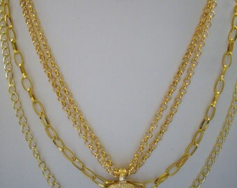 SALE Three Shades Gold Multistrand Necklace with Ancient Gold Mayas Calendar Pendant