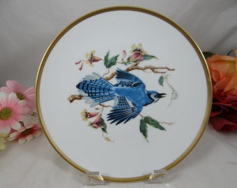 "1960s Hutschenreuther Audubon Salad Plate ""Blue Jay"" Bird - Absolutely Delightful"