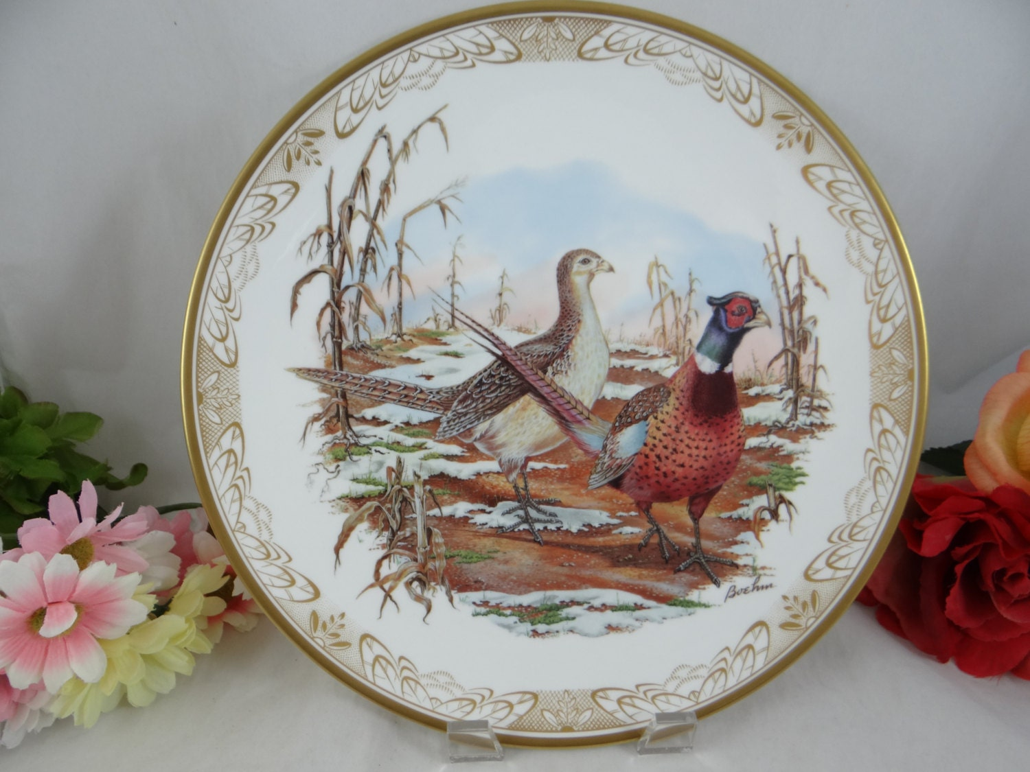 1984 Vintage Boehm Ring Necked Pheasant Large Collector Plate