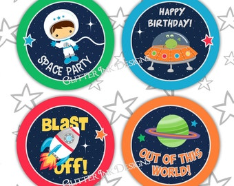 Space Rocket party pdf printable outer space cupcake toppers / favor treat bag tags - astronaut, spaceship, alien ship for boy