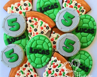 TMNT Inspired Birthday Party Cookies - 1 Dozen