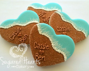 Beach Wedding Heart Cookies - 1 Dozen