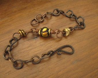 Handmade Chain Bracelet with Gold Dichroic Bead