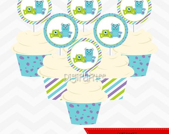 Monsters Inc Baby Shower Cupcake Toppers and Wrappers