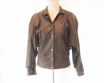 Brown distressed leather jacket, 80s 1980 brown leather jacket, medium, made in USA