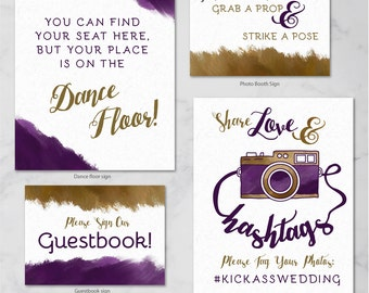 Wedding Sign Set (Table numbers, Hashtag, Photobooth, Guestbook, Gifts, Bar Menu, Unplugged Ceremony) CUSTOM PRINTED {Glampersand}