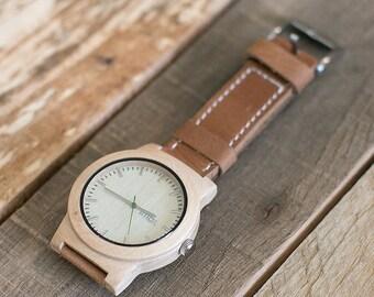 Wooden Watch, Minimalist Mens Wood Watch, Brown Leather Strap Watch - KNTY-L