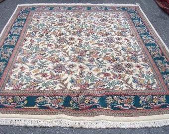 1980s Vintage, Hand-Knotted, Indo-Tabriz Rug (3165)