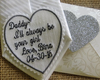 Embroidered Wedding Tie Patch. Father of the Bride, Groom, Best Man, Or Bride. Linen Fabric. Embroidered Gift Goes Well With a Handkerchief