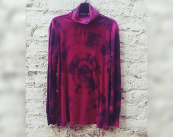 Sweater Womens Tie Dye Polo Neck Jumper Burgundy & Black to fit UK size 10 or US size 6 Hippy Clothes Festival