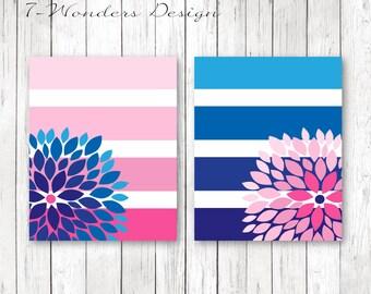 Girls Pink Navy Bedroom Art, Flower Bursts Big Stripes Art Prints, Ombre Style Modern Girls Decor Set of (2) 8x10 OR 11x14 sizes // Unframed