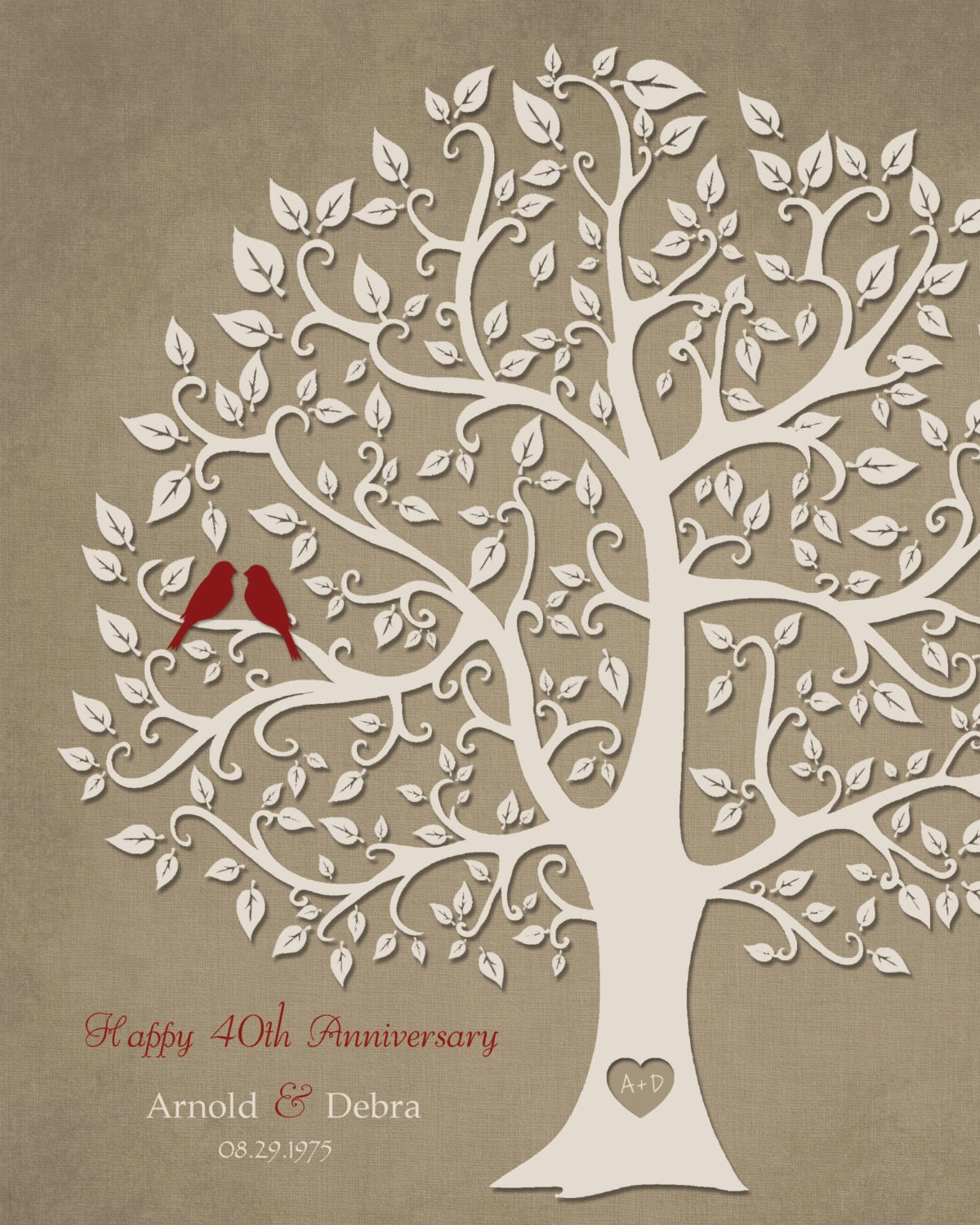 Gift Ideas 40th Wedding Anniversary: 40th Anniversary Gift For Parents 8x10 Print 40th Ruby