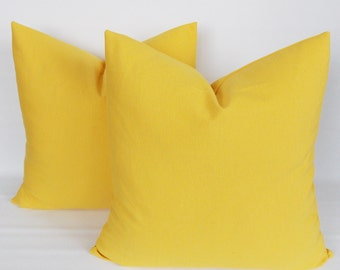 SET 2/ Solid Yellow pillow,Yellow Decorative pillow, Yellow Throw pillow,Pillow cover,12,14,16,18,20,22,24,26,28,30,32 inch