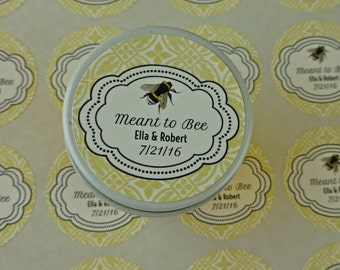 Personalized Wedding Favor Sticker Labels - 30 - 1.5 Inch Circles - Meant To Bee Design With Damask