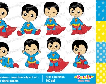 Baby superman - Superhero - clip art and digital paper set - Personal and commercial use - Instant Download