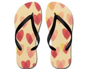 Sweet Hearts Flip Flops, Shoes, Summertime - Sweet Pink Hearts, Photography, RDelean